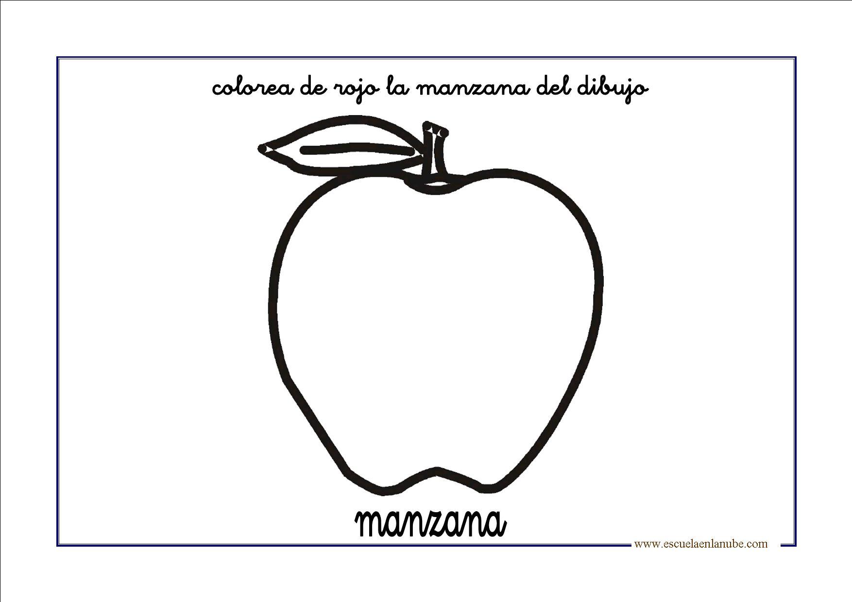 Moderno Colorear La Imagen De Una Manzana Elaboración - Ideas ...