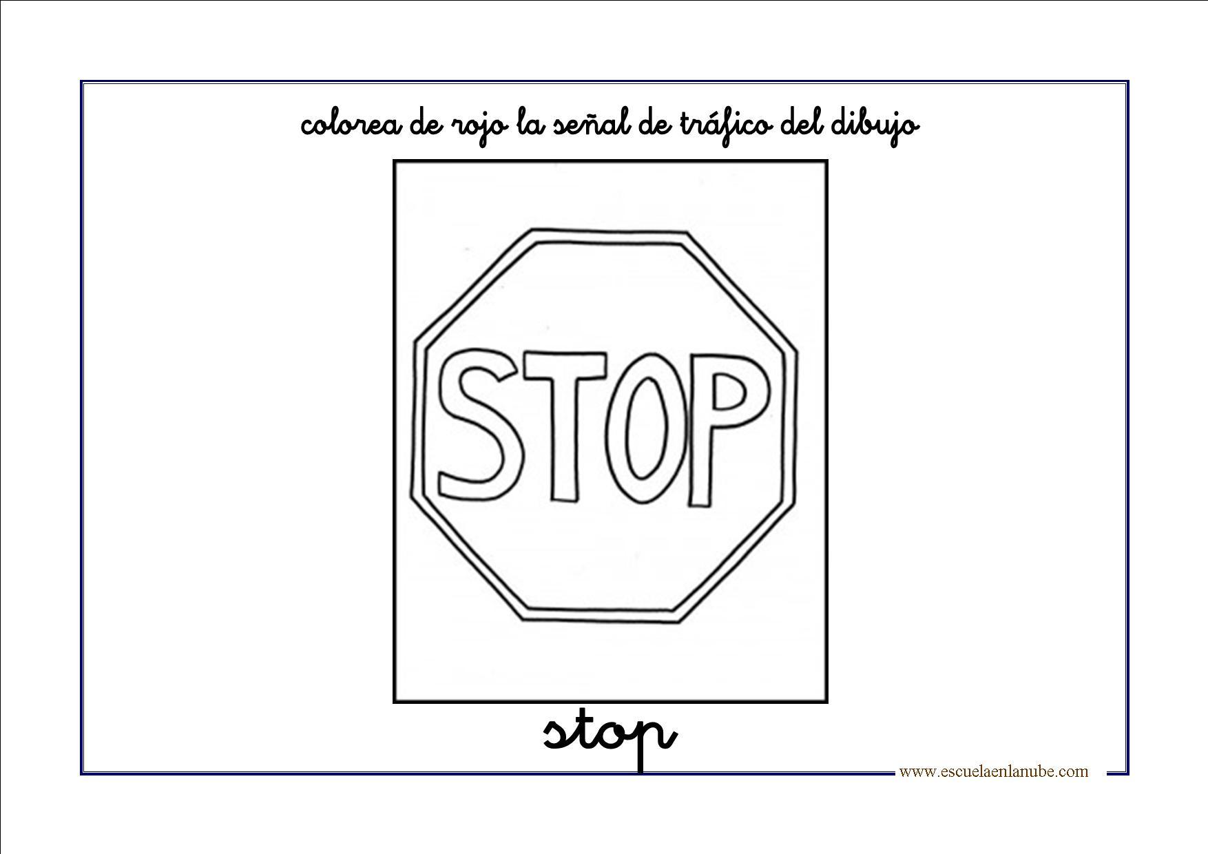Bonito Señal De Stop Para Colorear Regalo - Dibujos de Animales para ...