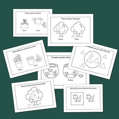 Aprender en la Nube: Fichas de infantil: Conceptos opuestos dentro y ...