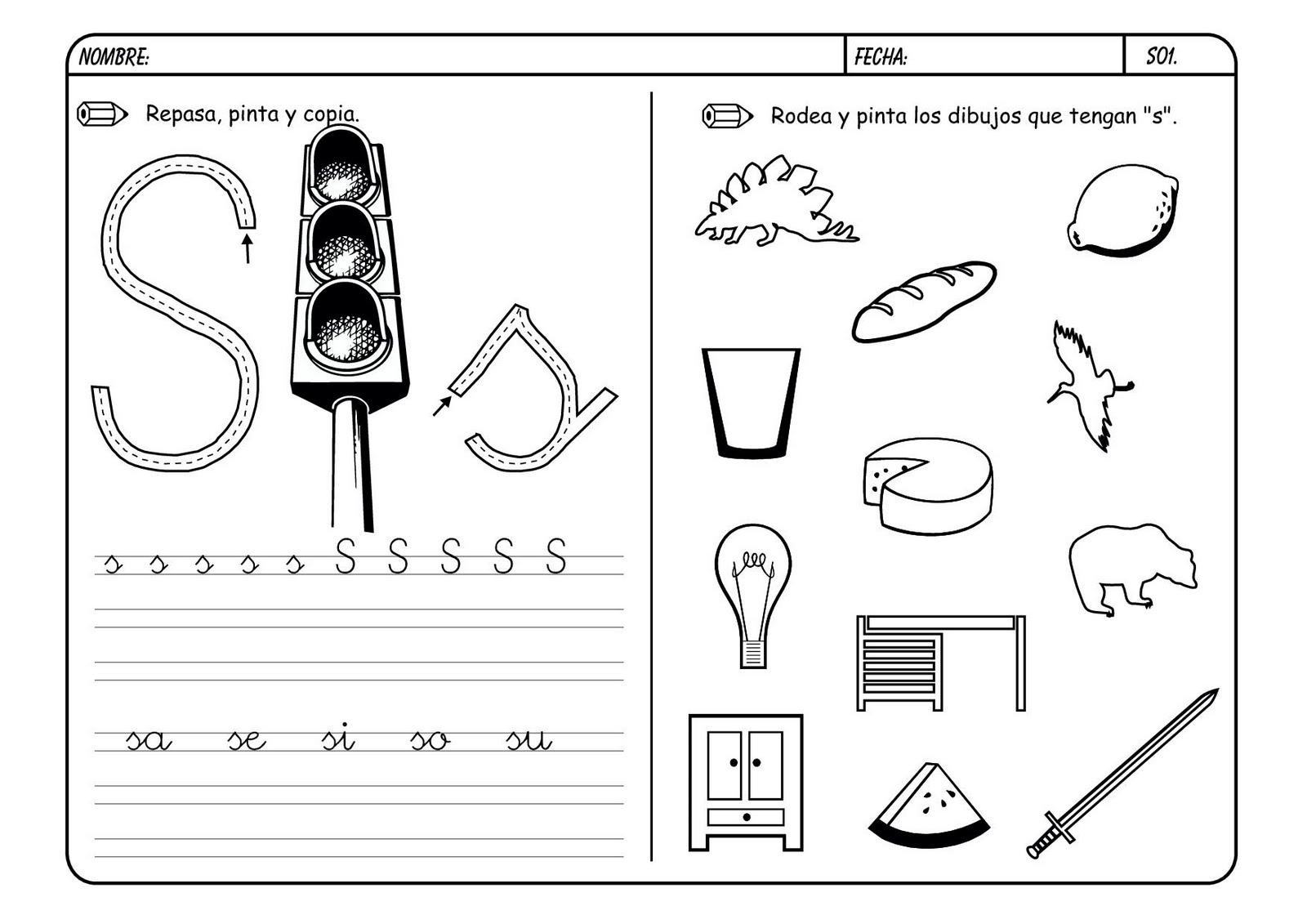 Fichas de infantil y primaria lectoescritura con la letra s for L practicas