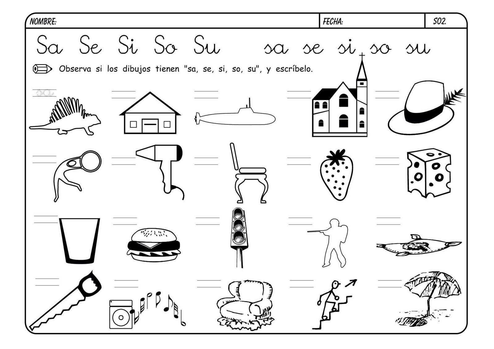 Fichas de infantil y primaria: Lectoescritura con la letra S