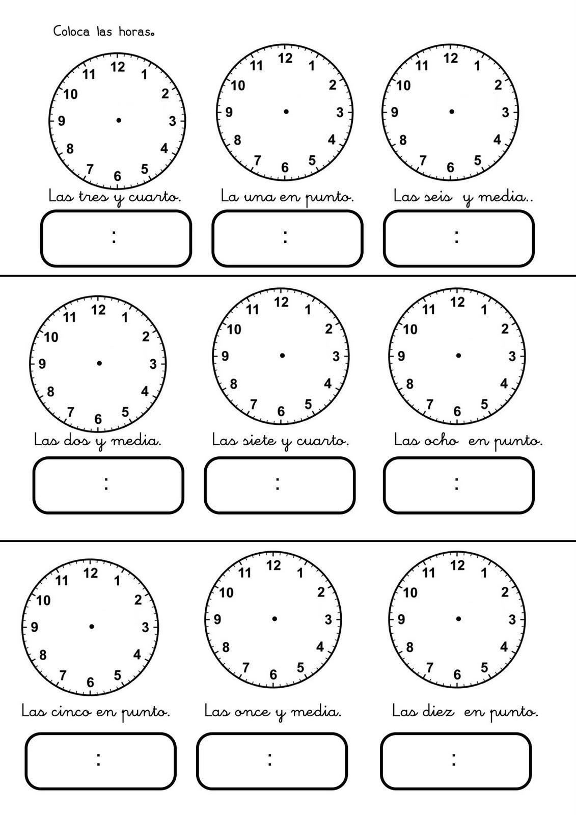 Trabajar Las Horas Fichas Para Aprender Las Horas Para