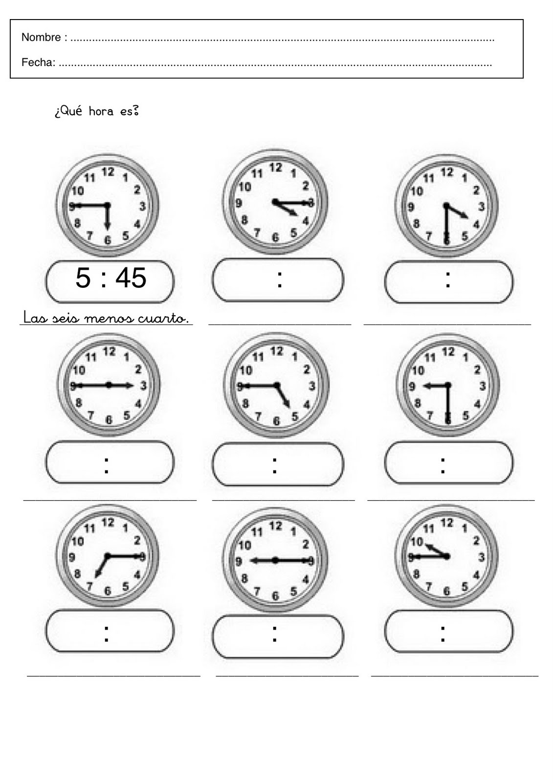 Trabajar las horas  Fichas para aprender las horas para infantil