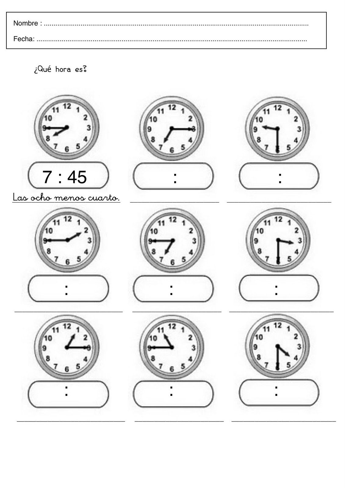Trabajar las horas - Fichas para aprender las horas para ...