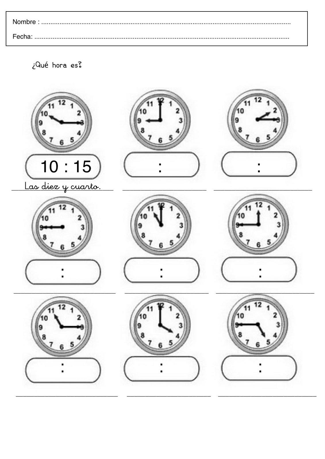 Resultado de imagen para que hora es actividades