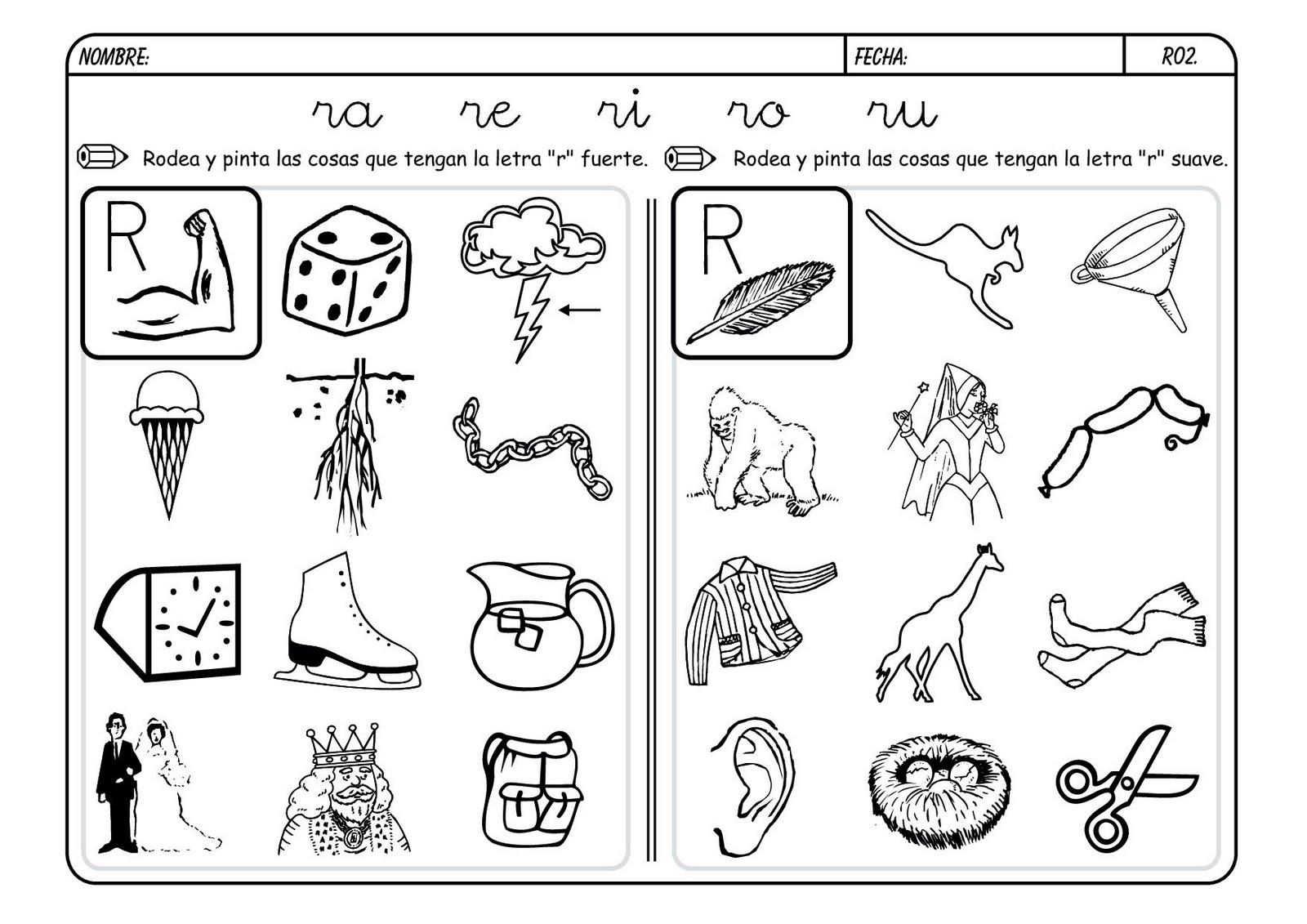 dibujos para colorear con fonema r
