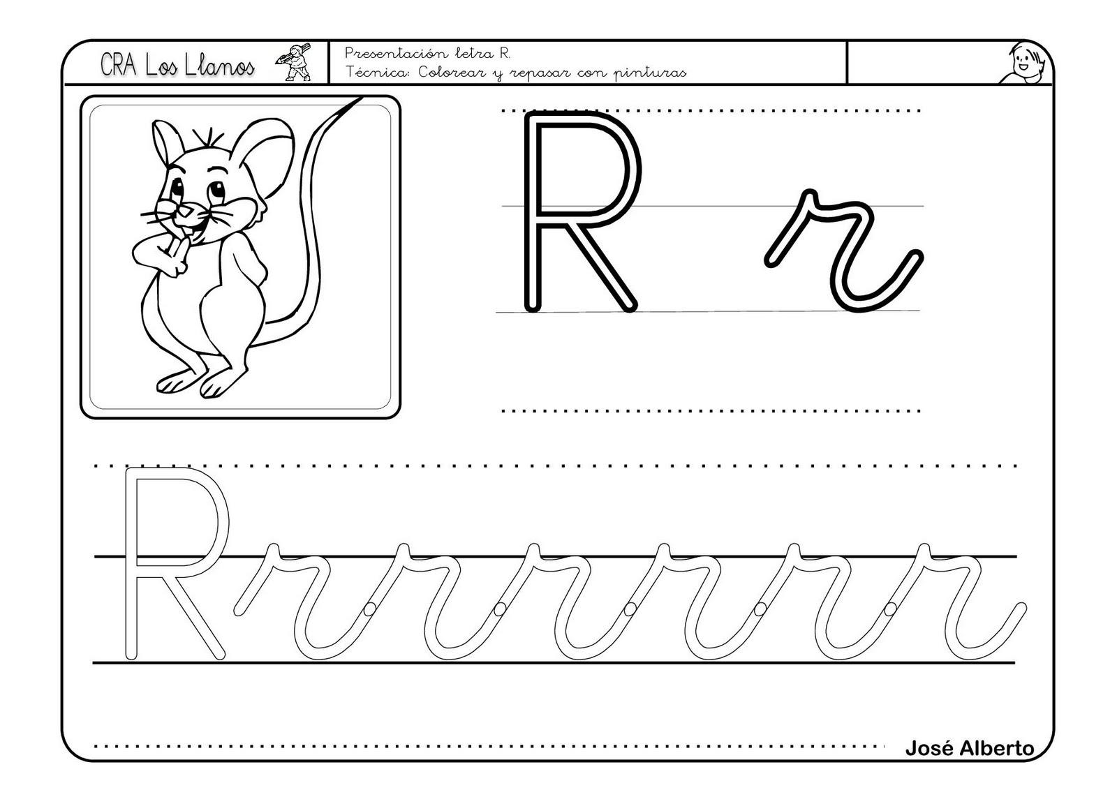 Fichas infantil: Lectoescritura letra R - Escuela en la nube