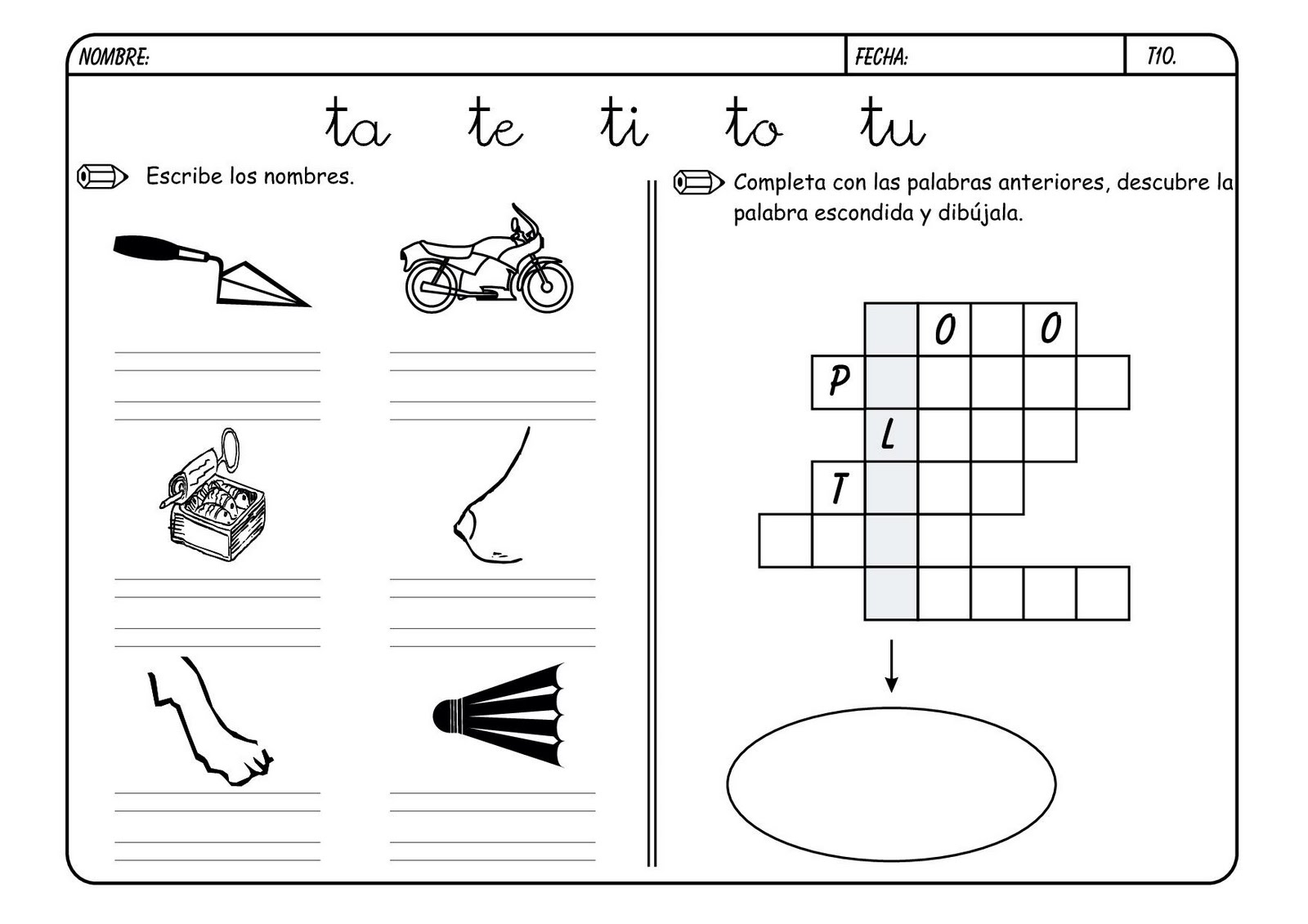 Lectoescritura con la letra T