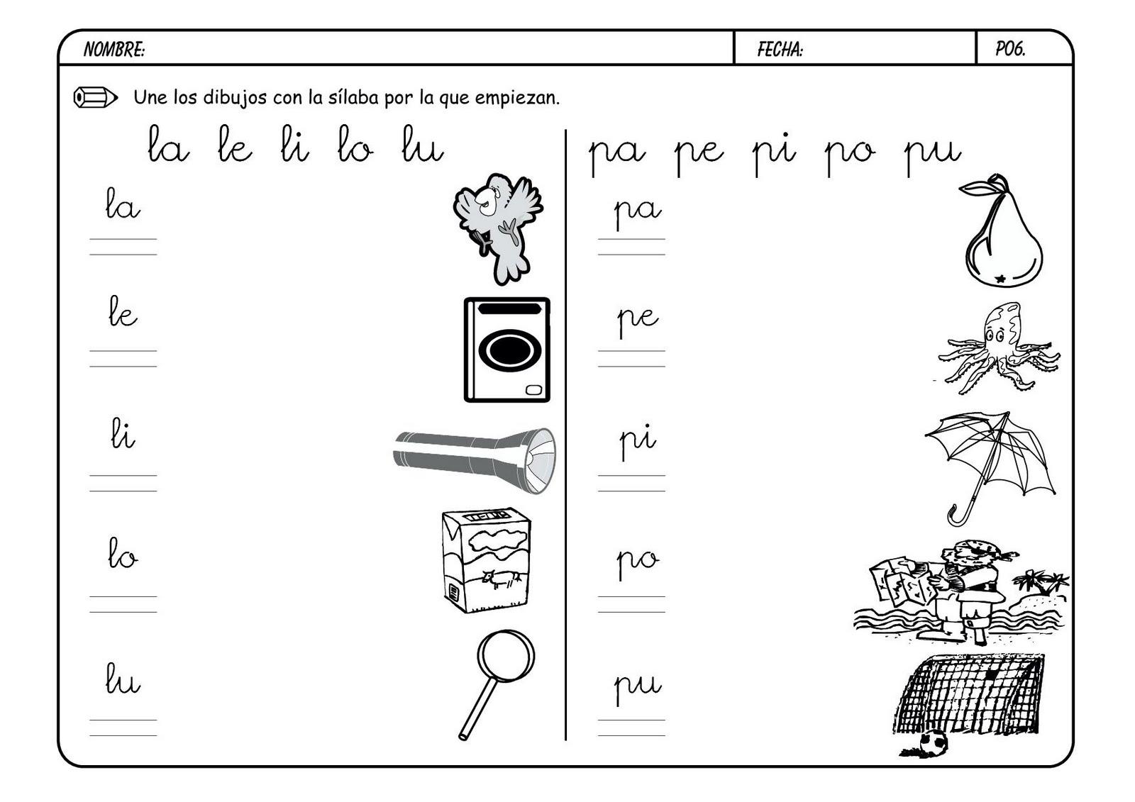 Lectoescritura y vocabulario con la letra p for L practicas