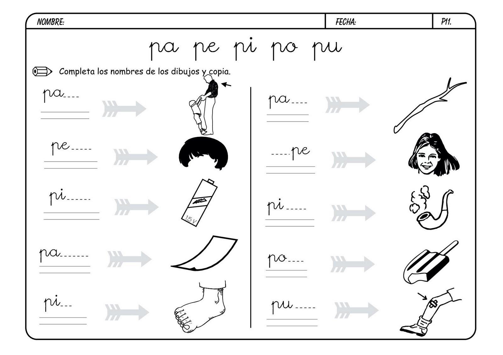 Lectoescritura Y Vocabulario Con La Letra P Letra_p13