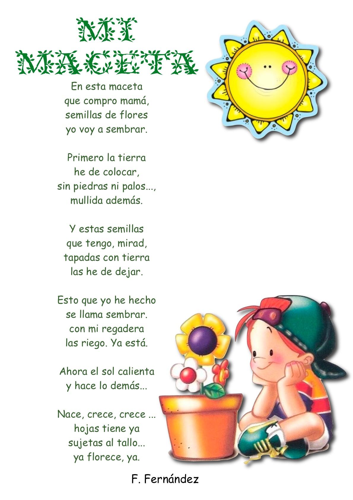 Poemas Infantiles Para Imprimir Y Leer A Los Niños Y Niñas
