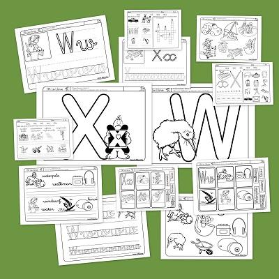 Fichas de lectoescritura con las letras W y X