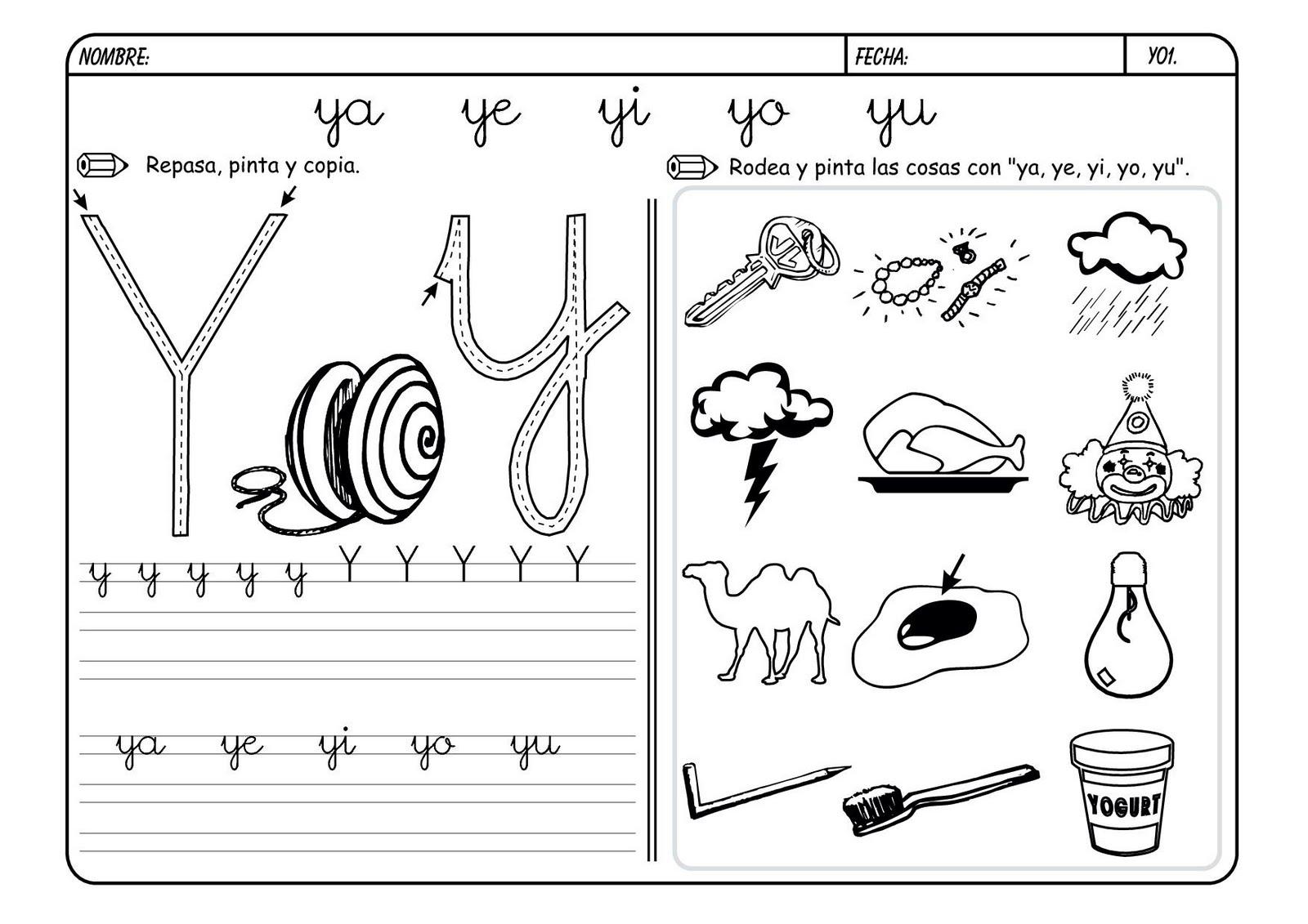 Lectoescritura Y Vocabulario Con La Letra Y