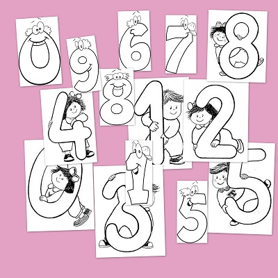 Fichas infantil: Números para colorear