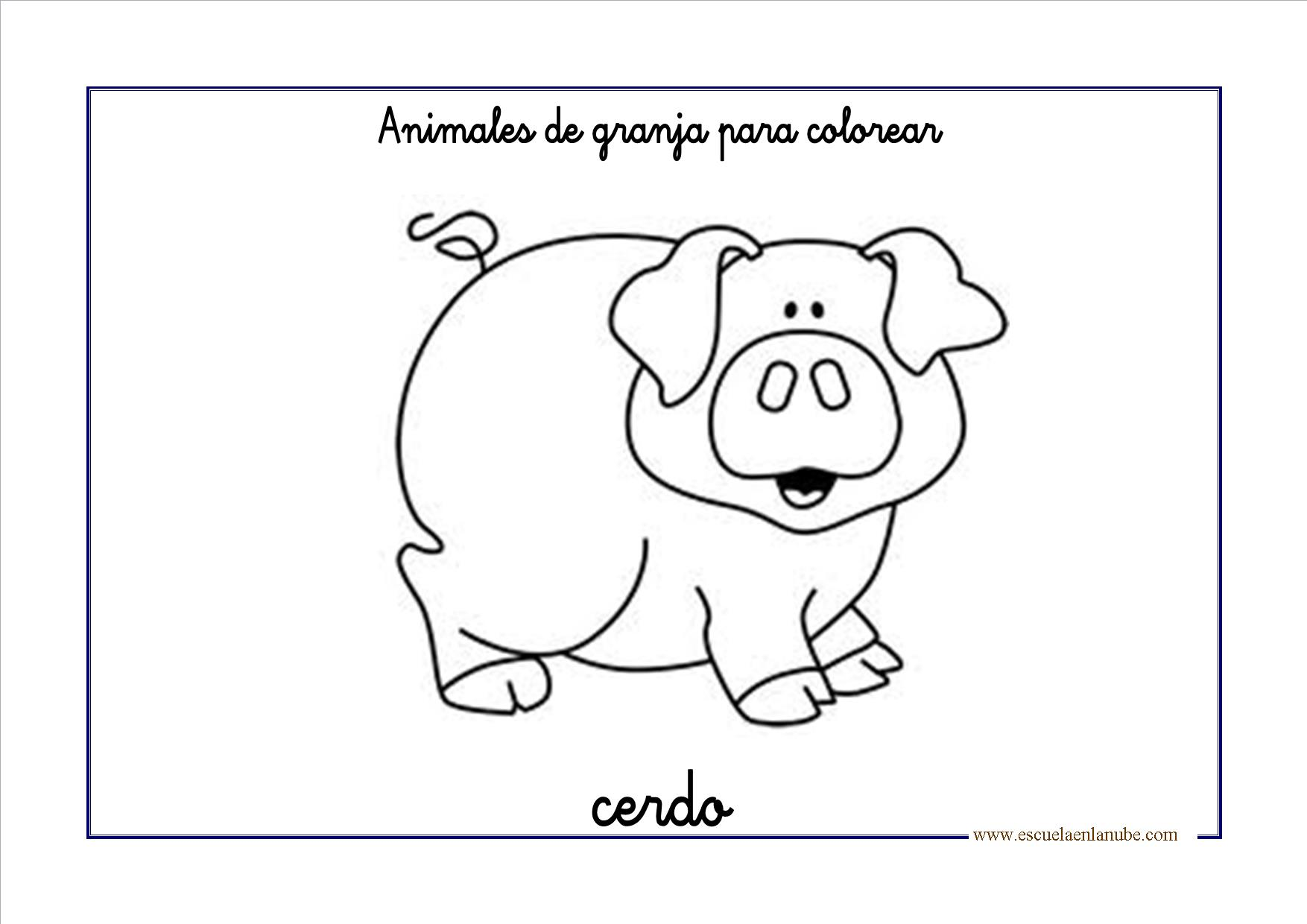 Dibujos para colorear: Animales de granja | Escuela en la nube