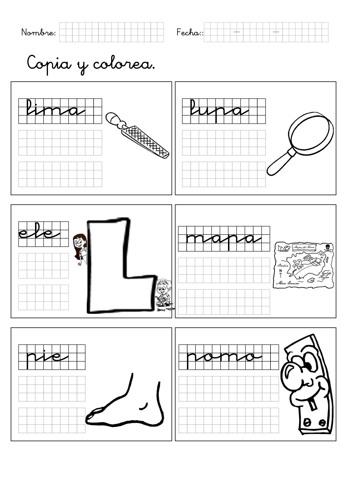 Fichas de lengua para 6 años