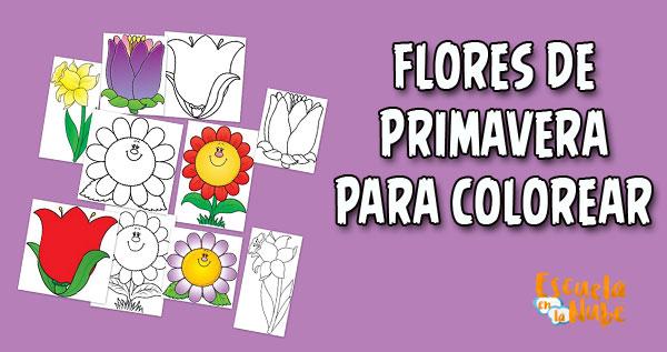 flores para colorear, flores para recortar, flores de primavera para colorear