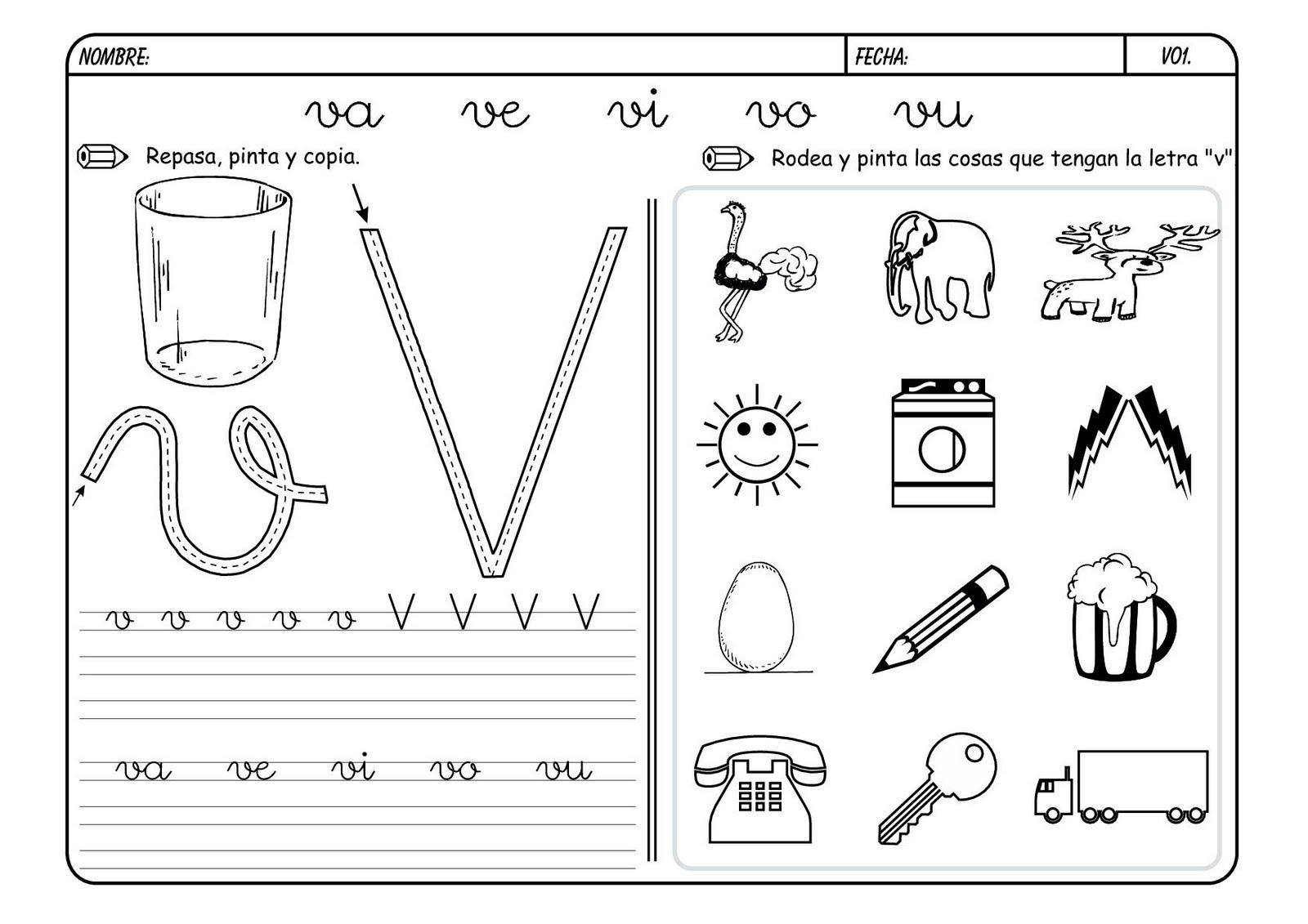 Dibujos Para Colorear Palabras Con V
