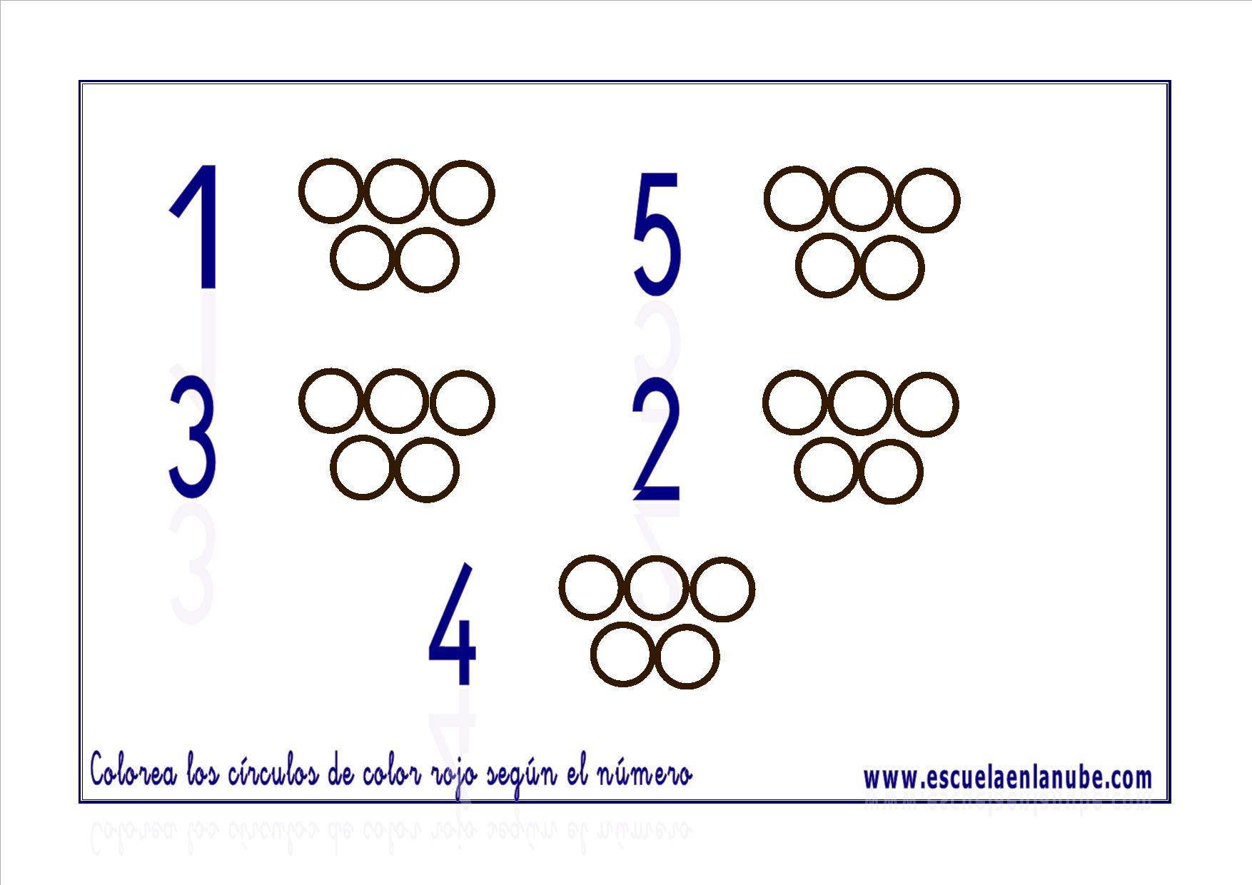 Fichas de matemáticas: Números del 1 al 5