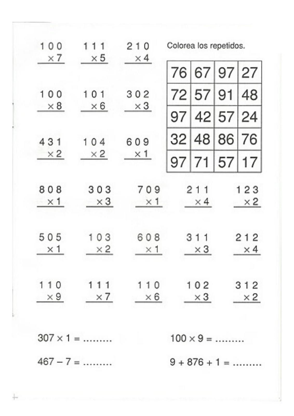 Resultado de imagen de fichas de multiplicaciones