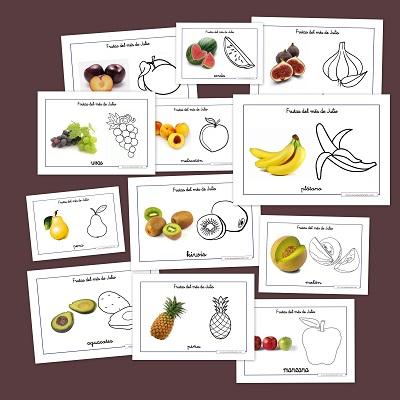 Las frutas del verano para colorear -