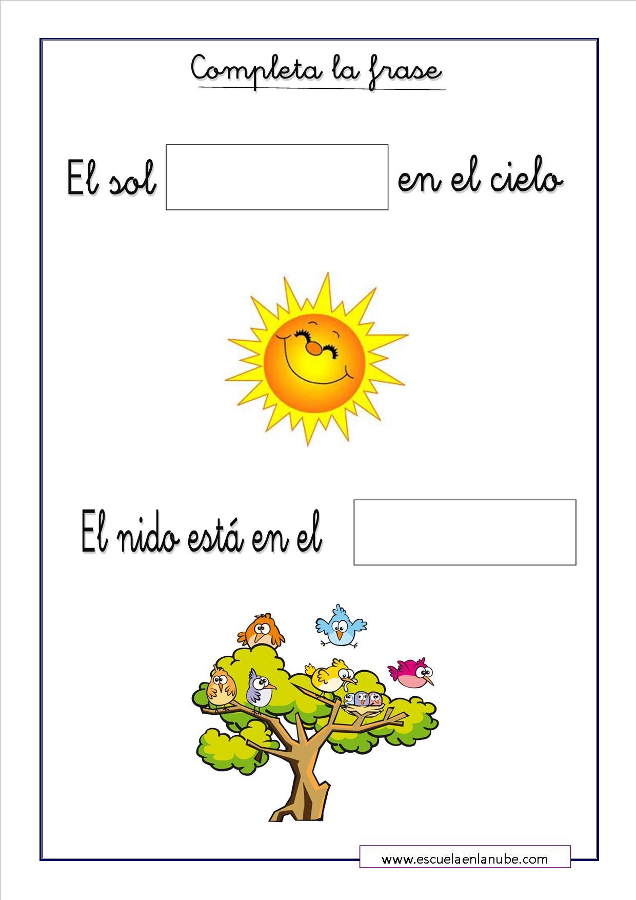 Fichas de lengua para primaria. Coloca y completa la frase