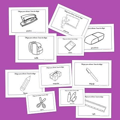 Dibujos del cole para colorear for 10 objetos del salon en ingles