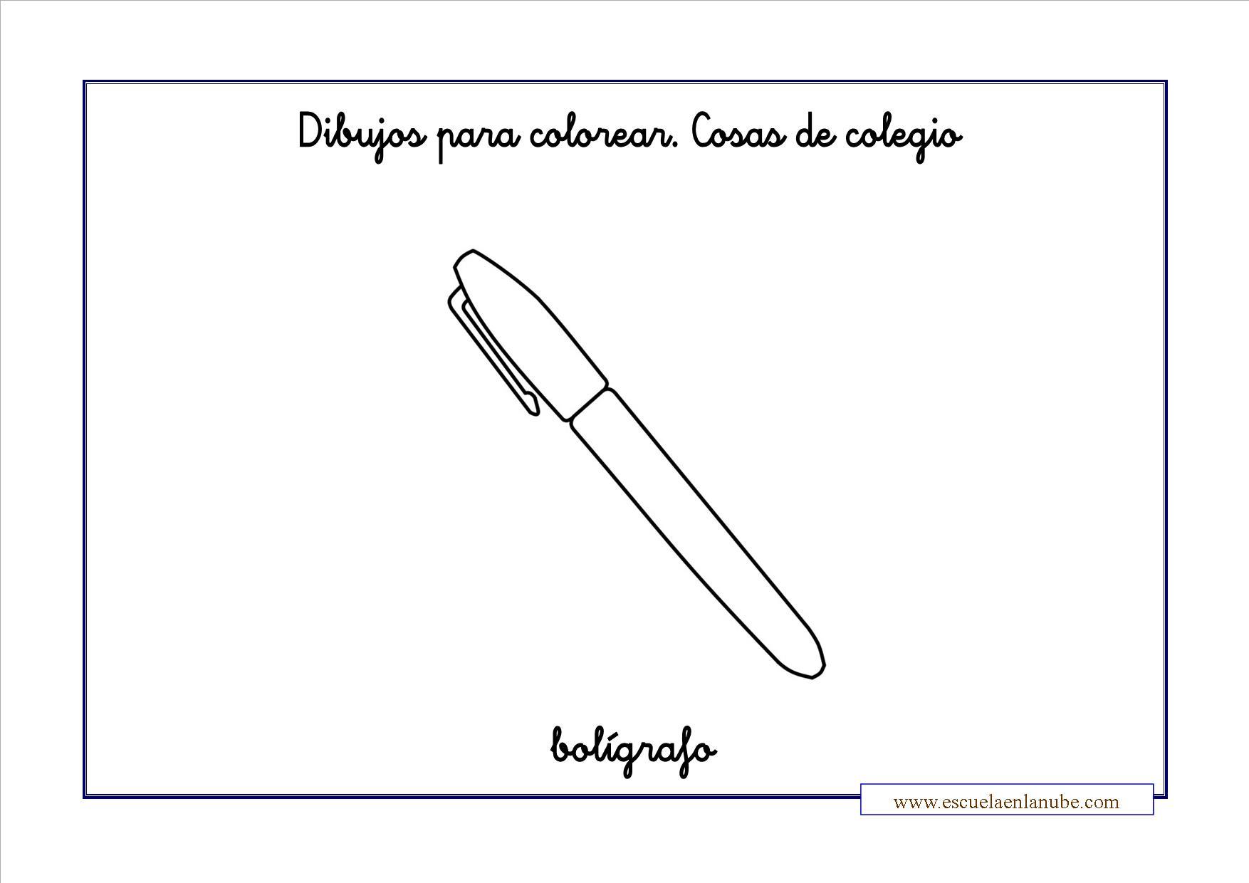 Dibujo De Bolígrafo Infantil Y Libreta Para Colorear: Colorear Clase Boligrafo