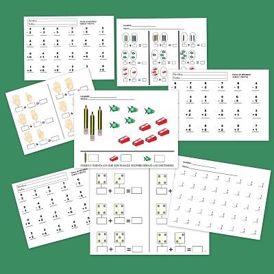 Matemáticas fichas sumas y restas