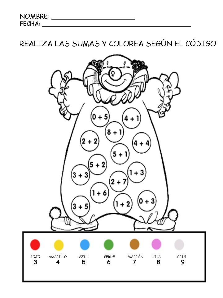 Fichas de matemticas Suma y colorea