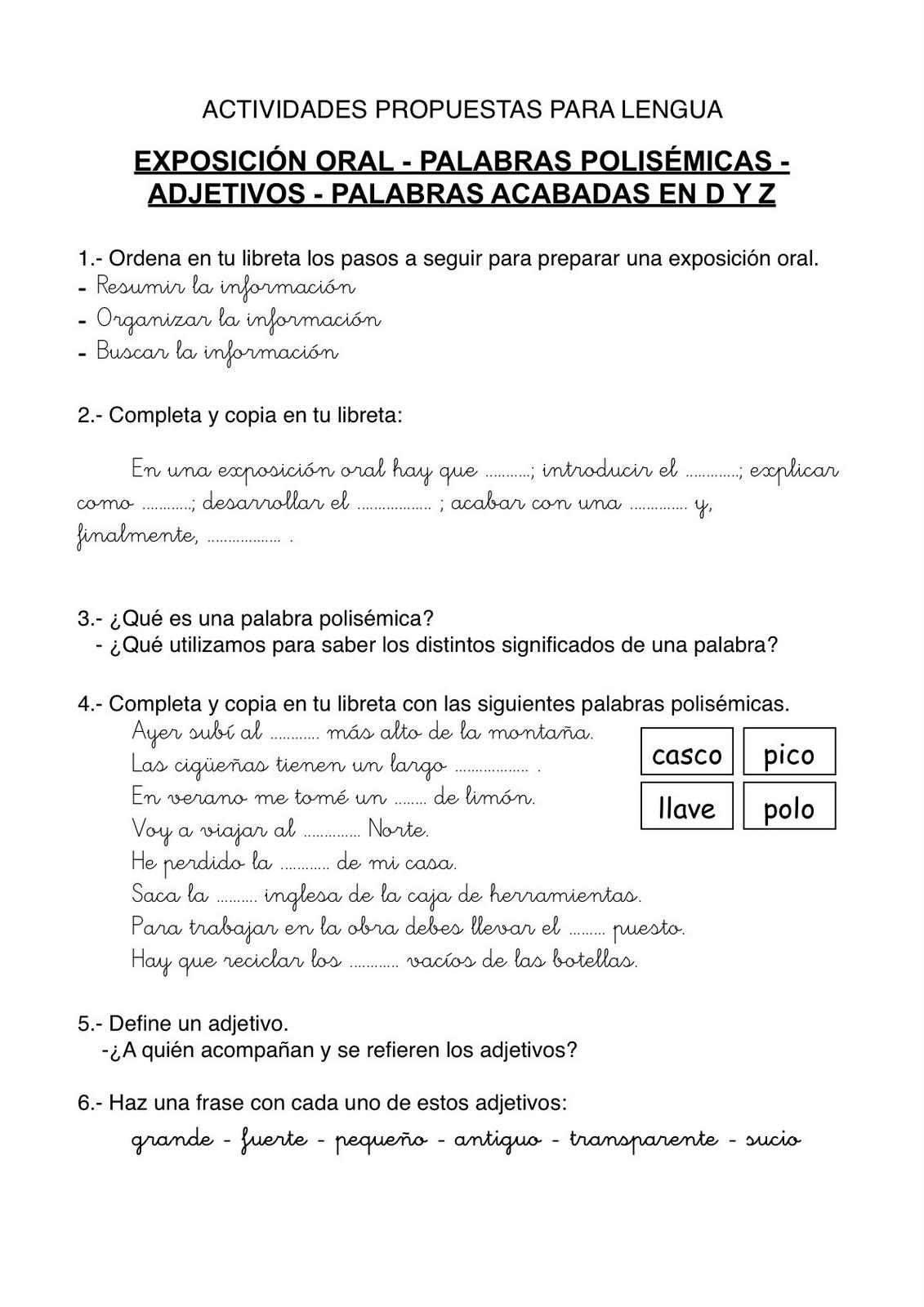 22 fichas de lengua para niños y niñas de primaria | Escuela en la ...