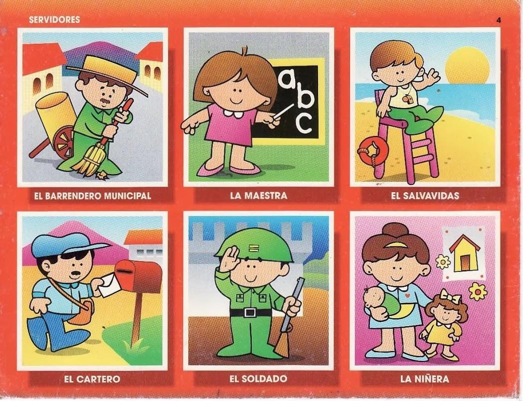 Fant 225 Sticos Dise 241 Os De Fondos: Loteria De Oficios Para Preescolar