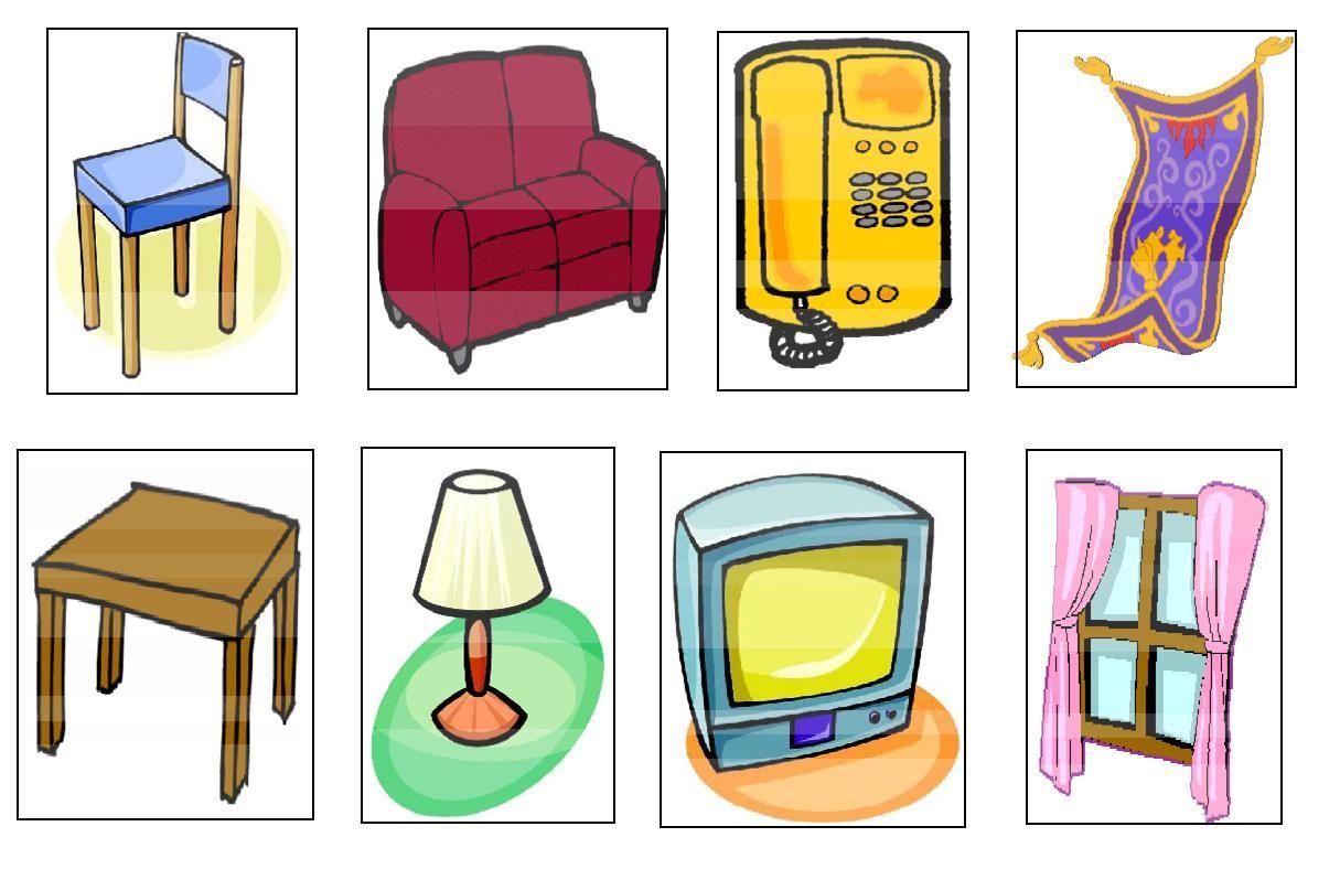 Fichas para trabajar la casa y las habitaciones for Objetos decorativos para salon