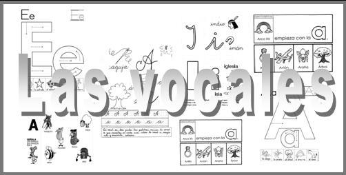 ▷ Las vocales. Fichas para aprender y repasar en educación infantil