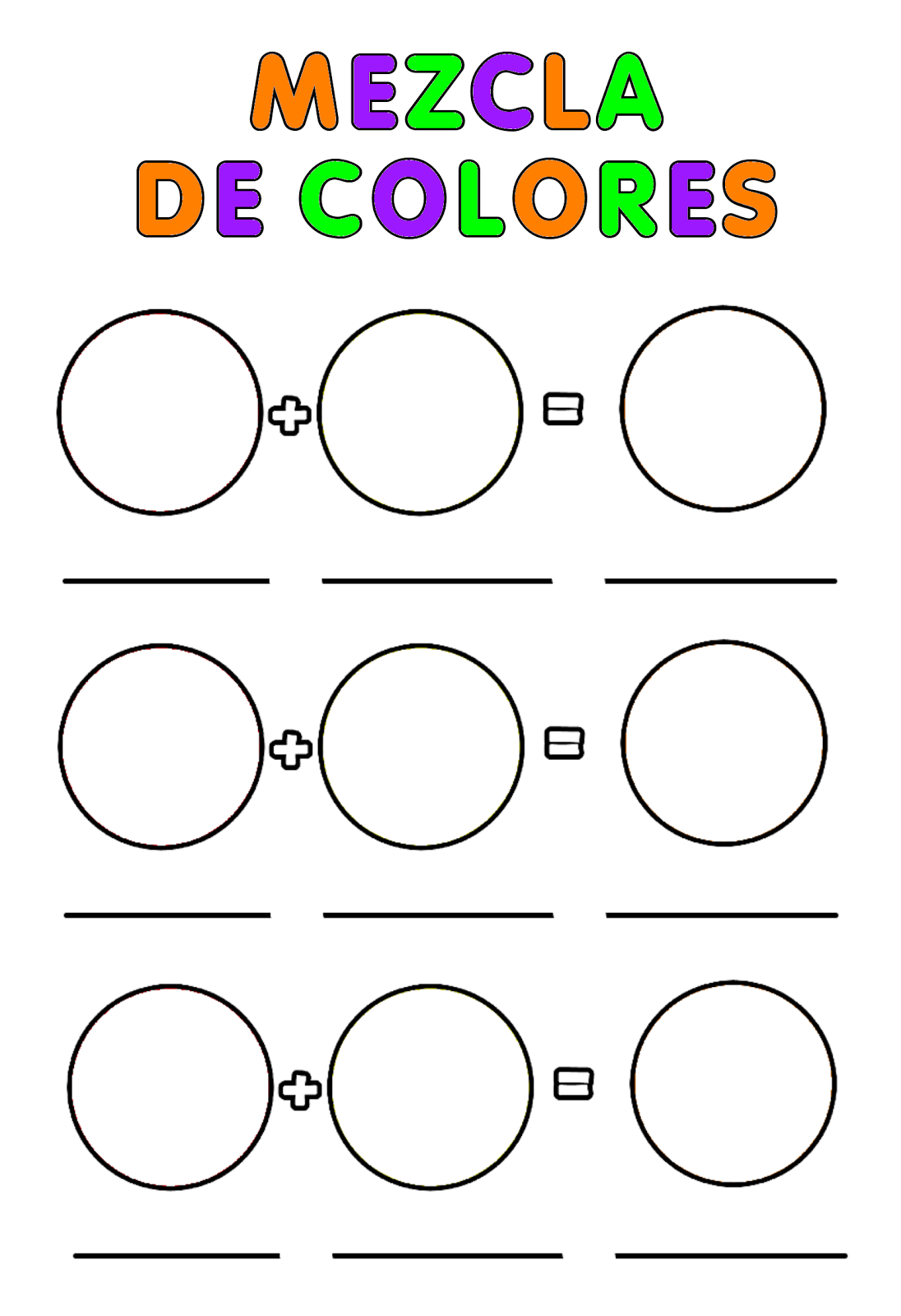 Fichas educativas: los colores primarios
