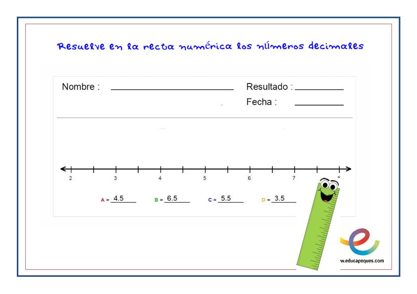 fichas recta numérica 3