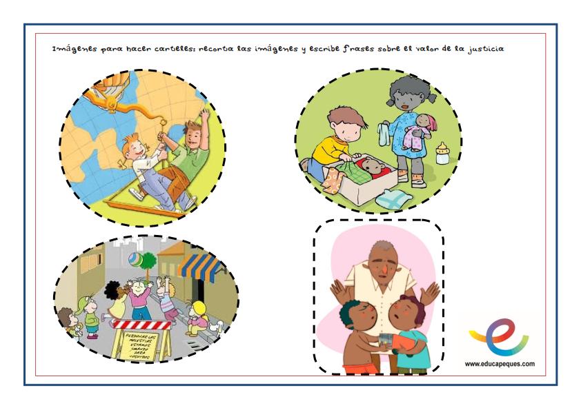 Worksheet. Frases infantiles sobre el valor de la justicia en el mundo