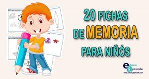 20 Fichas de memoria y concentración para niños